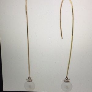 MICHAEL KORS CLASSIC PEARLY WIRE DROP EARRINGS